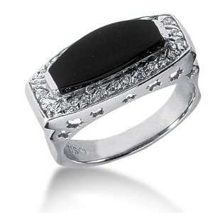 Onyx Ring Engagement Emerald cut 14k White Gold DALES Jewelry