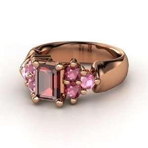 Astrid Ring, Emerald Cut Red Garnet 14K Rose Gold Ring with Rhodolite