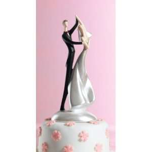 Caucasian Couple Wedding Cake Topper Dancing Bride & Groom Caucasian
