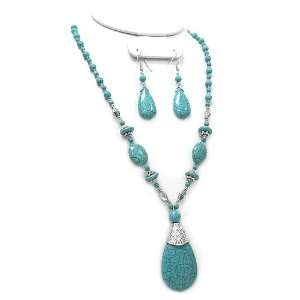 Fashion Jewelry ~ Turquoise Tear Drop Necklace and Earrings