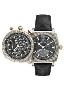 Titanium Chronograph Flip Watch,Black Leather Strap A43001G Watches