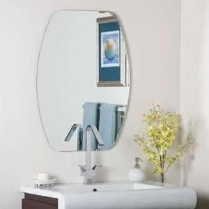 Bowed Rectangular Ribbed Edge Frameless Wall Mirror