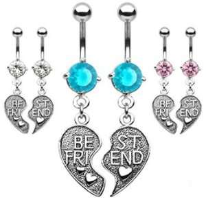 Pair of Best Friend heart charm pendant belly rings, clear Jewelry