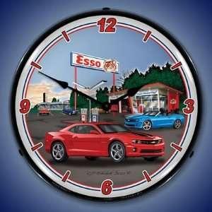 Camaro Esso Gas Station Lighted Wall Clock