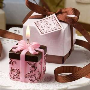 Brown and Pink Gift Box Candle Favor