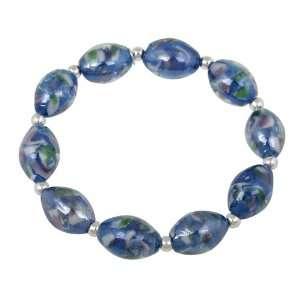 Silver and Light Blue Glass Oval Bead Stretch Bracelet, 7.5 Jewelry