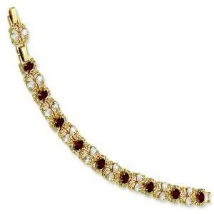 7 1/4in Gold plated Crystal Red Garland Bracelet/Gold