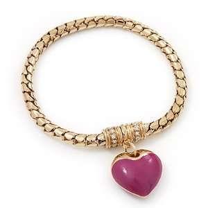 Gold Plated Magnetic Pink Enamel Heart Charm Bracelet   up