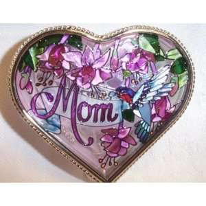 Amia Heart Shaped Handpainted Glass Mom Jewelry Box, 4