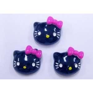5pc Black Kitty Cat Flat Back Resins Cabochons fa68 Arts
