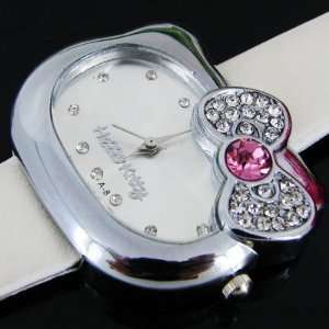 Hello Kitty Watch With White & Pink Crystal Bow + Hello KItty Pouch