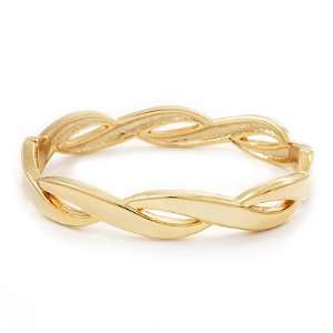 Gold Plated Braided Hinged Bangle Bracelet   up to 18cm