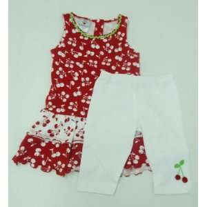 Girls Cherry Dress with Leggings, Red & White