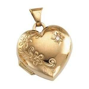 14K Yellow Gold Floral Emboss Heart Pendant With Diamond