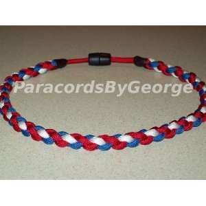 18 Red White & Blue Baseball Necklace   550 paracord