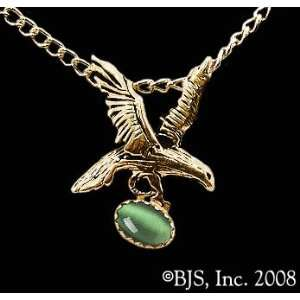 Small Eagle Necklace with Gem, 14k Yellow Gold, Green set