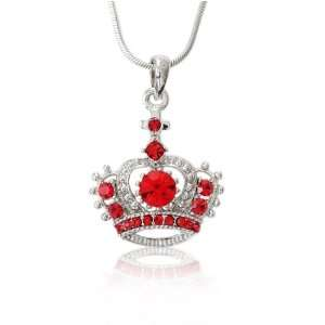 Red & Clear Crystal Crown Charm Pendant Necklace Jewelry