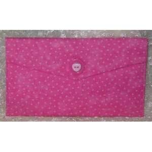 Pink Polka Dot Heart Button Clutch Wallet Eyeglass Case