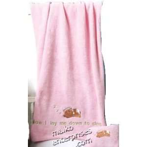 Sleepy Bear Baby Pink Fleece Throw & Pillow Set