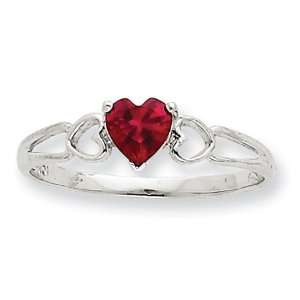 10kt White Gold Heart Genuine Ruby Ring Jewelry