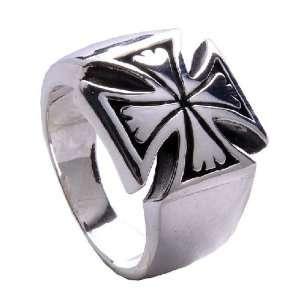 .925 Thai Silver Ring Iron Cross Designed Mens Fashion