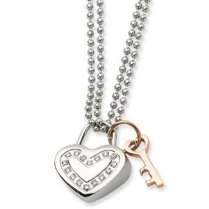 Stainless Steel Heart w/ CZs & Rose Gold plated 22in Necklace Jewelry
