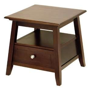 Mission End Table w Shelf and Drawer Antique Walnut Finish