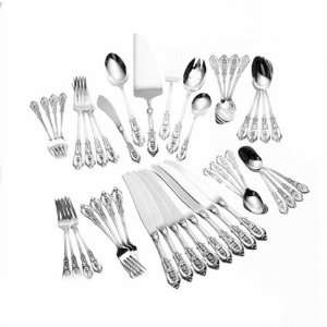 Wallace Rose Point 46 Piece Sterling Silver Flatware Set, Service for