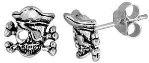 Tiny Sterling Silver Skull Stud Earrings Jewelry