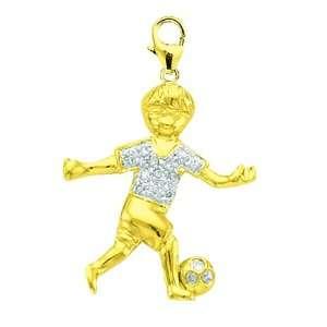 14K Yellow Gold Diamond Boy Soccer Player Charm Jewelry