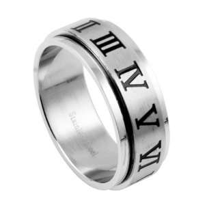 Stainless Steel Spinner Ring   Roman Numeral   Size: 10 14: Jewelry