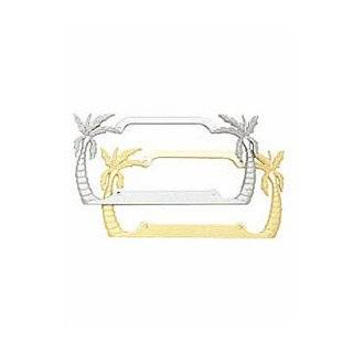 Palm Trees License Plate Frame (Chrome Plated Metal) Automotive