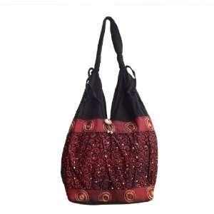 Red Thai Silk Hippie Hobo Shoulder Bag Purse Tote Shoulder