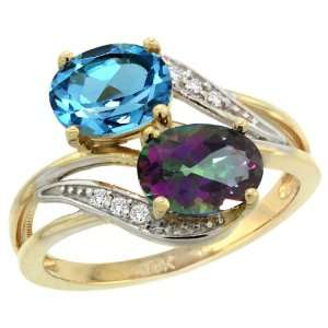 Gold ( 8x6 mm ) Double Stone Engagement Swiss Blue & Mystic Topaz Ring