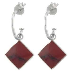 Silver Red Jasper Square Charm Hoop Earrings (0.4 Diameter) Jewelry