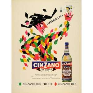 1965 Ad Cinzano Bianco White Vermouth Bottle Italian