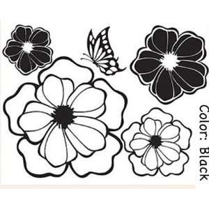 Wall Decor Removable Decal Sticker   Black or White Flowers with