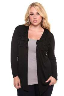 Torrid Plus Size Black Ruffle Open Long Sleeve Cardigan