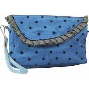Blue Satin Darling Wallet Purse Make up Bag Wristlet