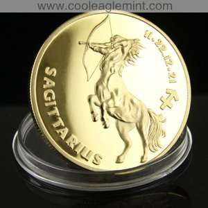 Sagitarius Zodiac Sign 24kt Gold plated Commemorative Coin