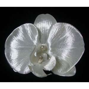Pearl White Orchid Hair Flower Clip Beauty