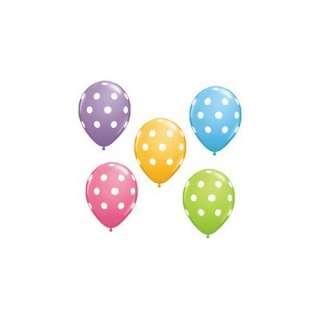 12 Polka Dot Balloons Bright Festive Colors Party Blue