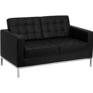 Flash Furniture Hercules Lacey Series Contemporary Black Leather Love