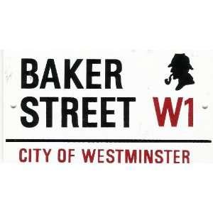 Baker Street Street Sign with Sherlock Holmes Profile