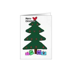 com Green Christmas tree and red love heart  Merry Christmas  I love