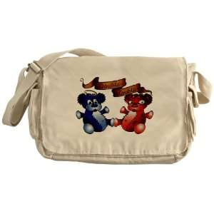Messenger Bag Double Trouble Bears Angel and Devil