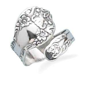 Spoon Ring Oxidized Sterling Silver Floral Design, Made in