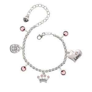 Crown with Pink Swarovski Crystals Love & Luck Charm  Jewelry
