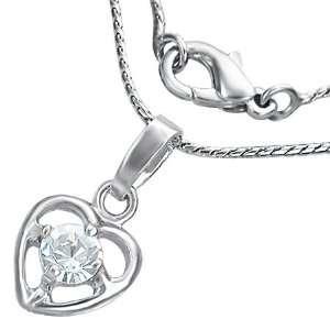 Jewellery Shop   Fashion Prong Set Love Heart Charm Necklace w/ CZ