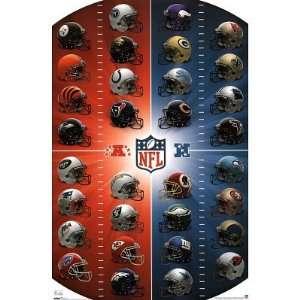 NEW POSTER   NFL Football Team Logo Helmets 22x34 Poster Print, 22x34